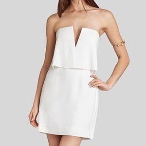 BCBG White Strapless V Neck Dress